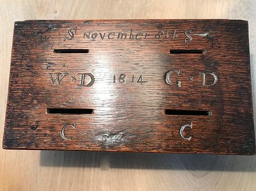 Antique Oak Money Box - Dated