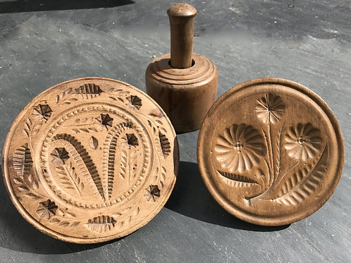 Antique Treen Sycamore Butter Stamps