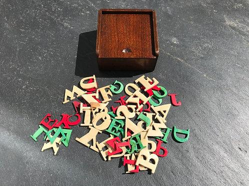 Antique Alphabet Box - Childs Teaching Toy