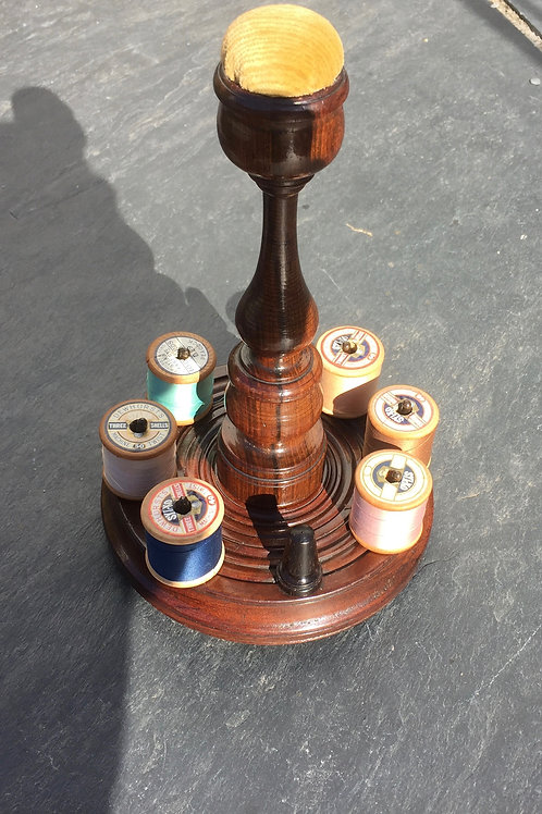 Antique Reel,Thimble and Pin Cushion Stand