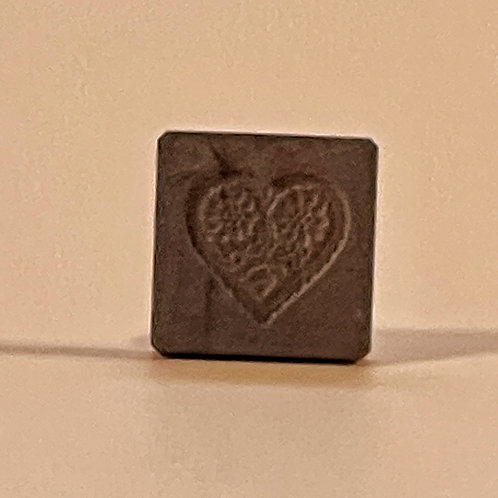 A Small Antique Treen Confectionery Mould - Carved Heart