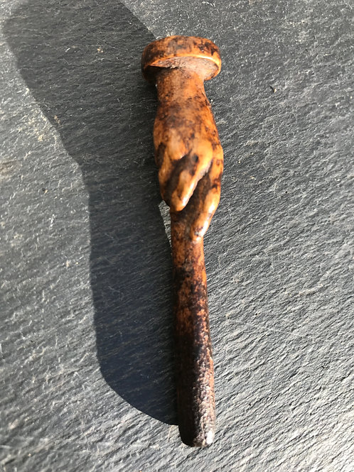 Antique Treen Pipe Tamper - carved hand