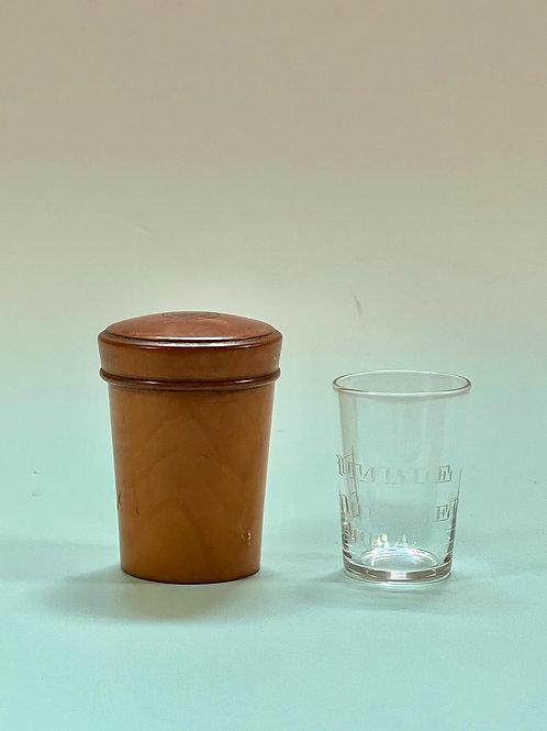 Antique Medicine Beaker Case & Engraved Beaker