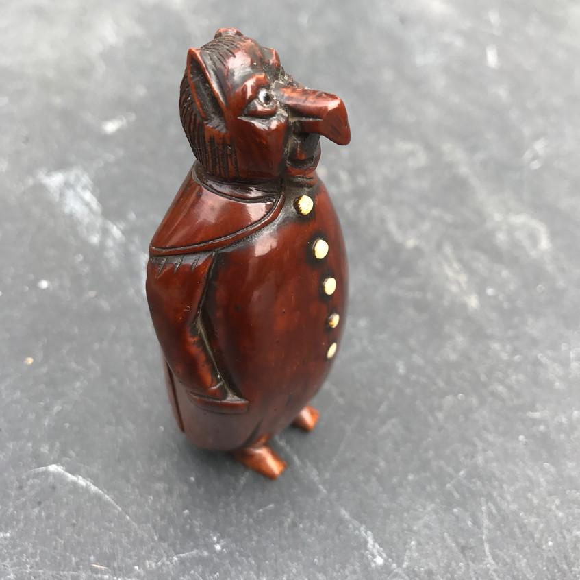 Antique Coquilla nut  figural snuff box