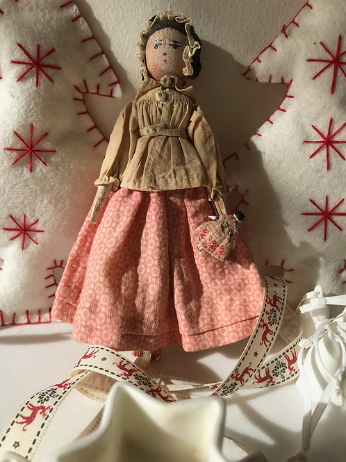 Antique Peg Doll with Baby Doll