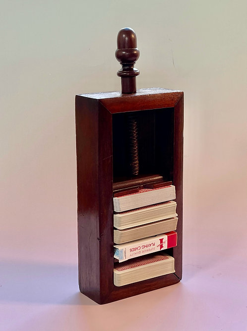 An Antique Mahogany Card Press & Holder