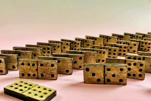 A Folk Art Wooden Dominoes & Cribbage Box - makers name