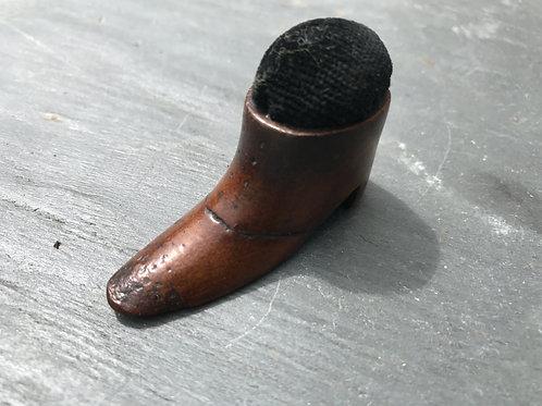 Antique Mahogany Pin Cushion Shoe
