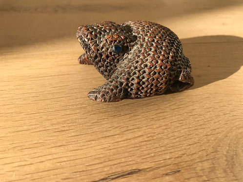 Antique Treen Snuff Box - Frog/Toad