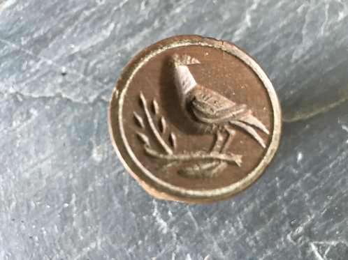 Antique Treen - Bird and Flower Confectionery Stamp
