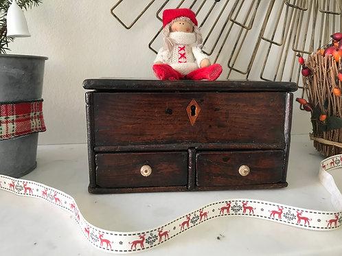 Antique Welsh Oak Bow - Secret drawer & Makers label