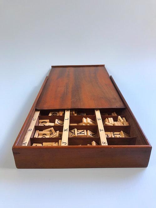 An Antique Mahogany Boxed Alphabet & Spelling Box