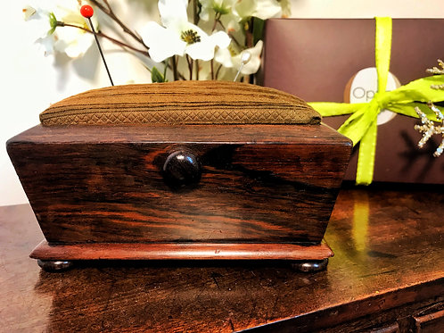 Antique Rosewood Pin/Hat Pin Cushion