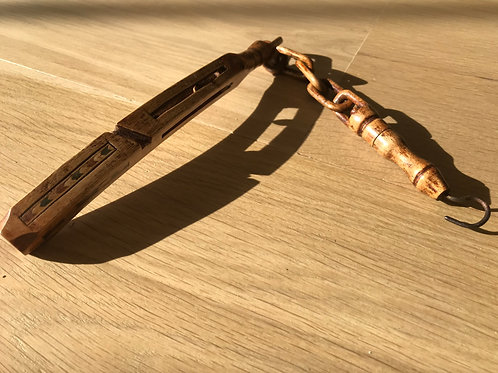 Antique Treen Knitting Sheath with Chain