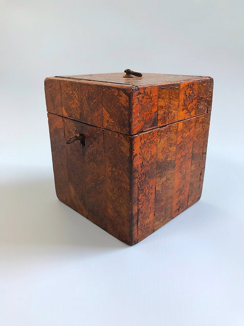 Antique Prisoner of War Tea Caddy - straw work