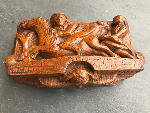 """Antique Table snuff Box - Carved by a 'Blind Man"""""""