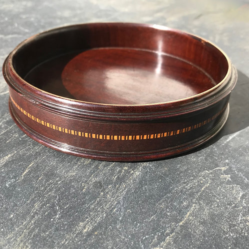 Antique Wine Coaster - Brass stringing and inlay