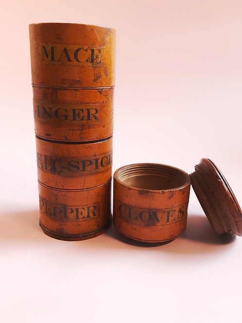 Antique Five Tier Spice Tower -unusual Pepper label