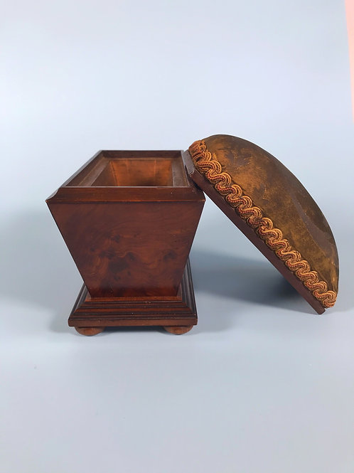Antique Yew Wood Pin Cushion Box