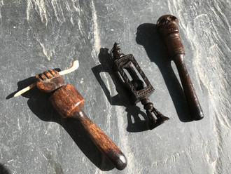 Little Gems Amongst the Smoke - Antique treen pipe stoppers