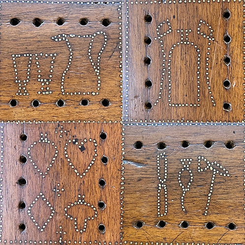 An Unusual Brass Pique Inlaid Cribbage Board - Dated 1858
