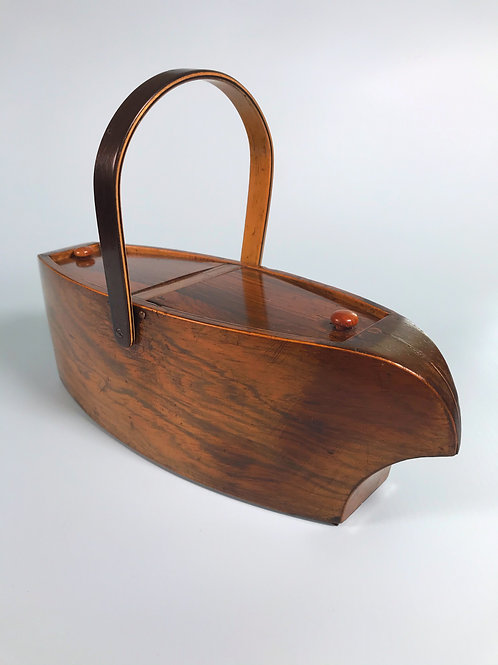Antique Rosewood Box - Unusual Boat Shape