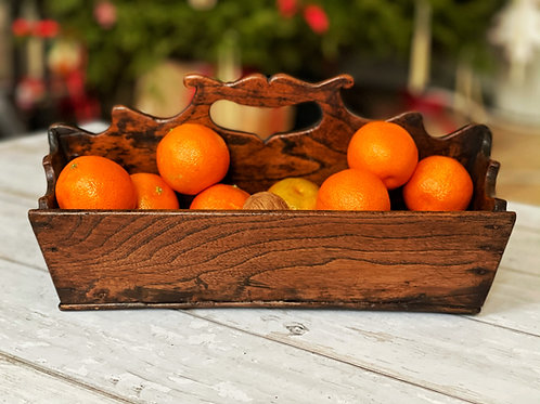 Antique Elm Cutlery Tray- nicely shaped sides