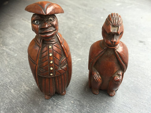 Antique Coquilla Nut Figural Snuff Boxes