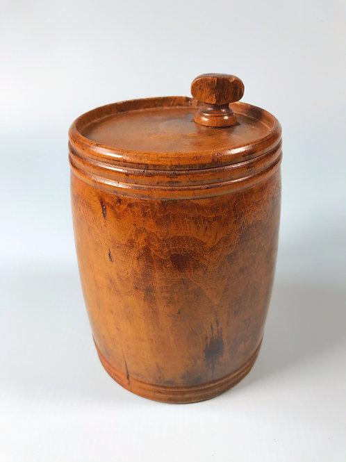 An Antique Treen Storage/Powder Barrel