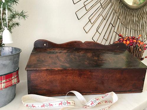 Antique Fruitwood Candle Box - Plum Wood