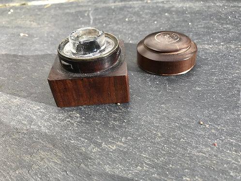 Antique Lignum Vitae Ink Pot