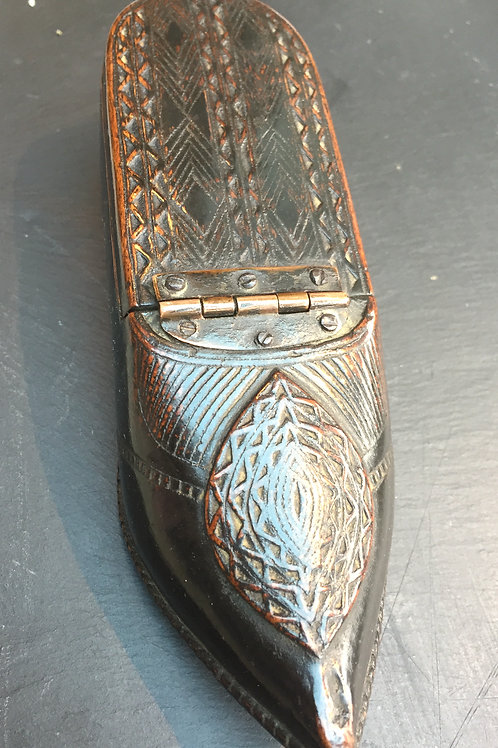 An Antique Wood Table Snuff Shoe with Mirror