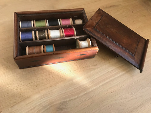 Antique Cotton Reel Box - with side apertures