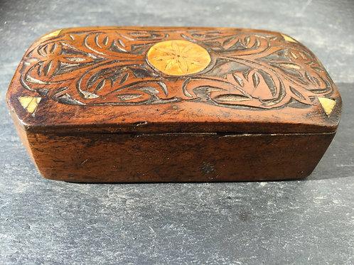 A Carved Walnut Snuff Box