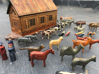 Antique Treen and Straw Work Noah's Ark & Animals