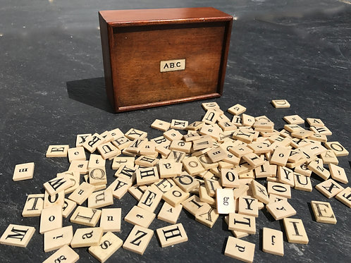 Antique Alphabet/Spelling Box with Letters