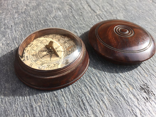 Antique Rosewood Cased Pocket Sundial & Compass
