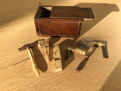 Rare Antique Box with Miniature Tools