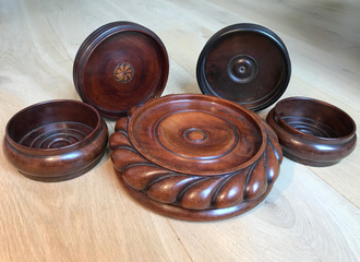Antique Treen Wine Coasters or Sliders