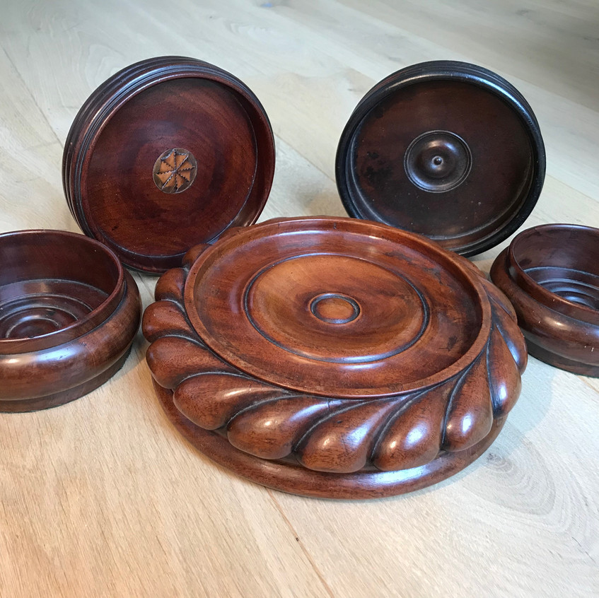 antique treen wine coasters for sale opu