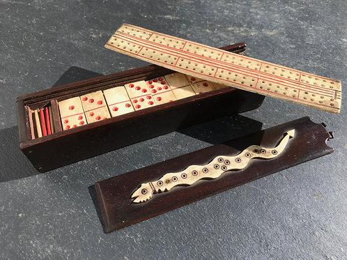Antique Prisoner of War Games Box - cribbage & Dominoes