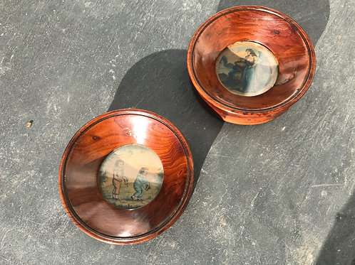 A pair Of Antique Miniature Yew Wood Frames