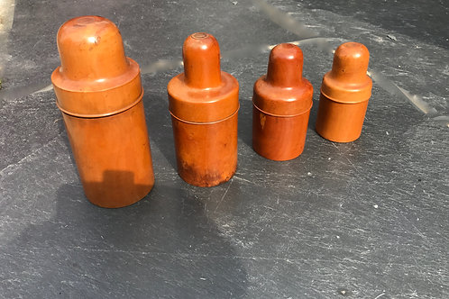 Antique Boxwood Bottle Carriers - various makers stamps
