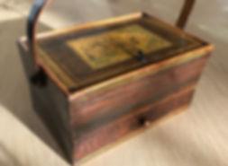 antique tunbridge ware pannier basket fo