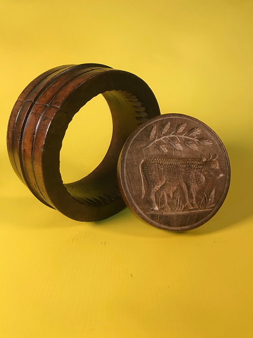 An Unusual Antique Treen TwoPiece Butter Mould