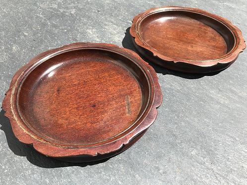 A Fine Pair of Antique Mahogany Wine Coasters