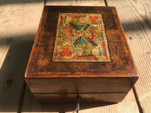 Antique Card & Cribbage Box