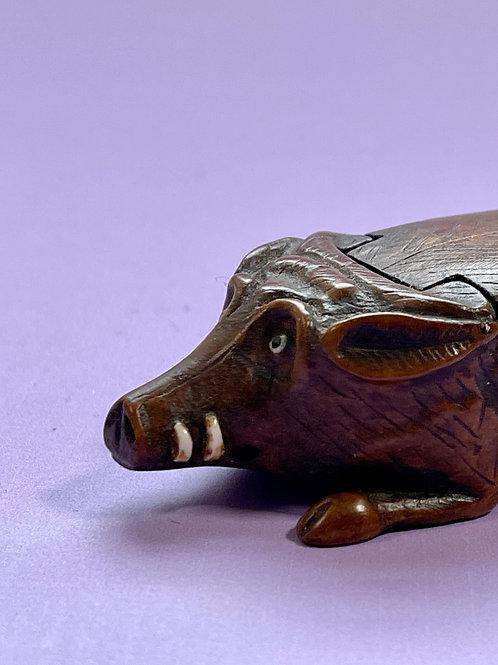 Antique Wild Boar Snuff Box