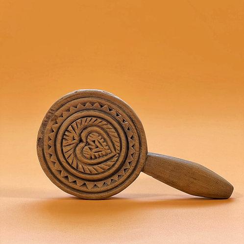 An Unusual Antique Treen Lollipop Butter Stamp & Slapper