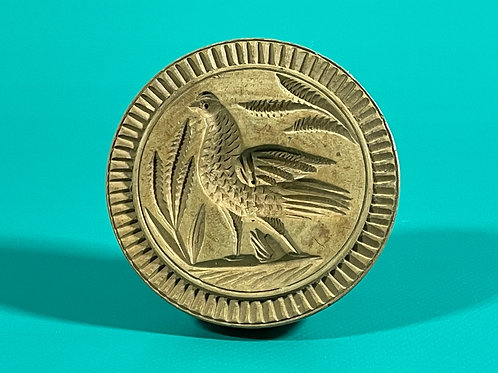 A Rare Antique Butter Stamp - Carved Pheasant
